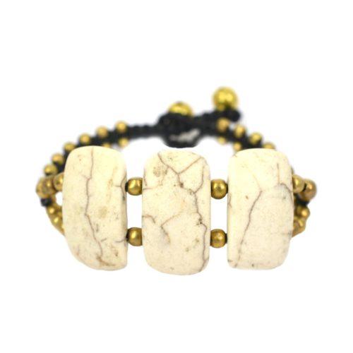 Stone Combi Brass Bracelet