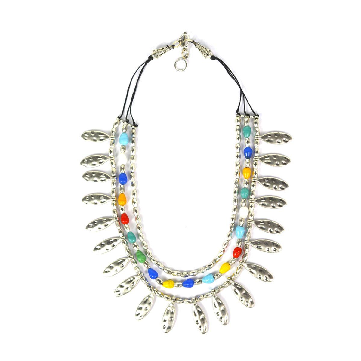 Stone Combi Multi String Necklace
