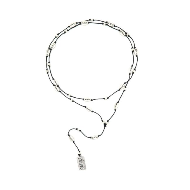rosary necklace writing peace 08821462