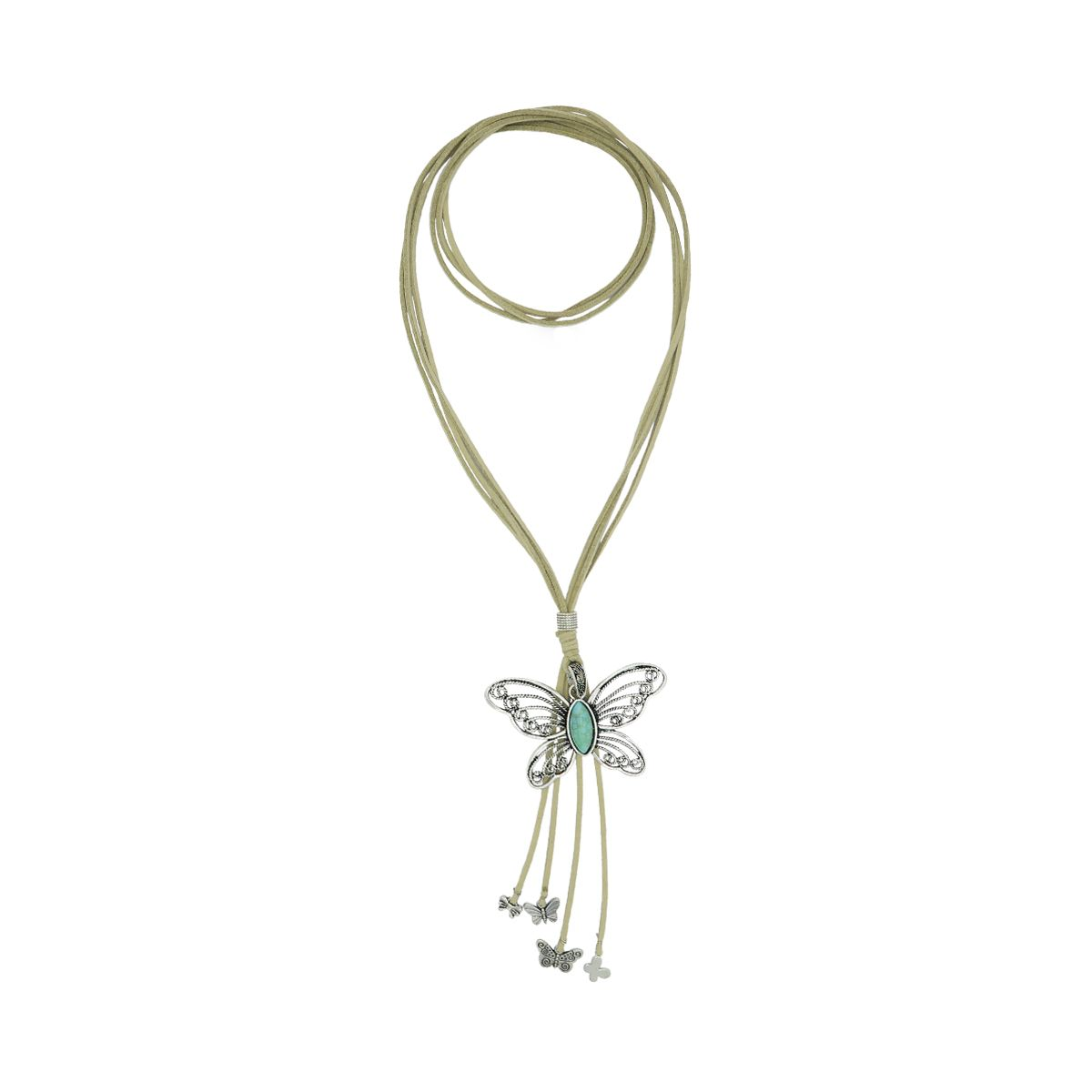 Butterfly Pendant Suede Necklace 08230131