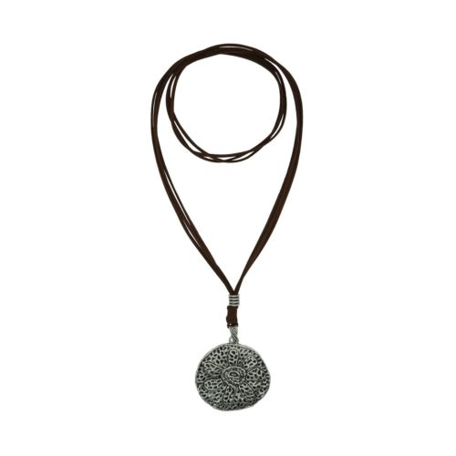 Flower Round Suede Necklace 08230145