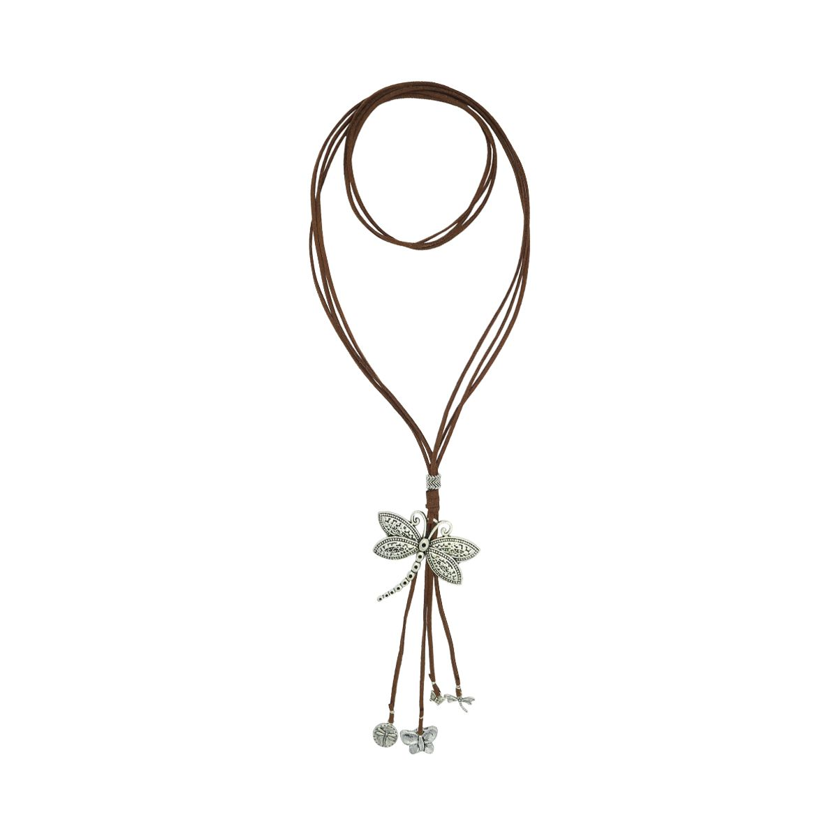 Dragonfly Pendant Suede Necklace