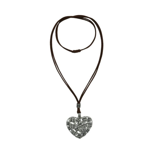 Two String Suede Butterfly Heart Necklace 08230242