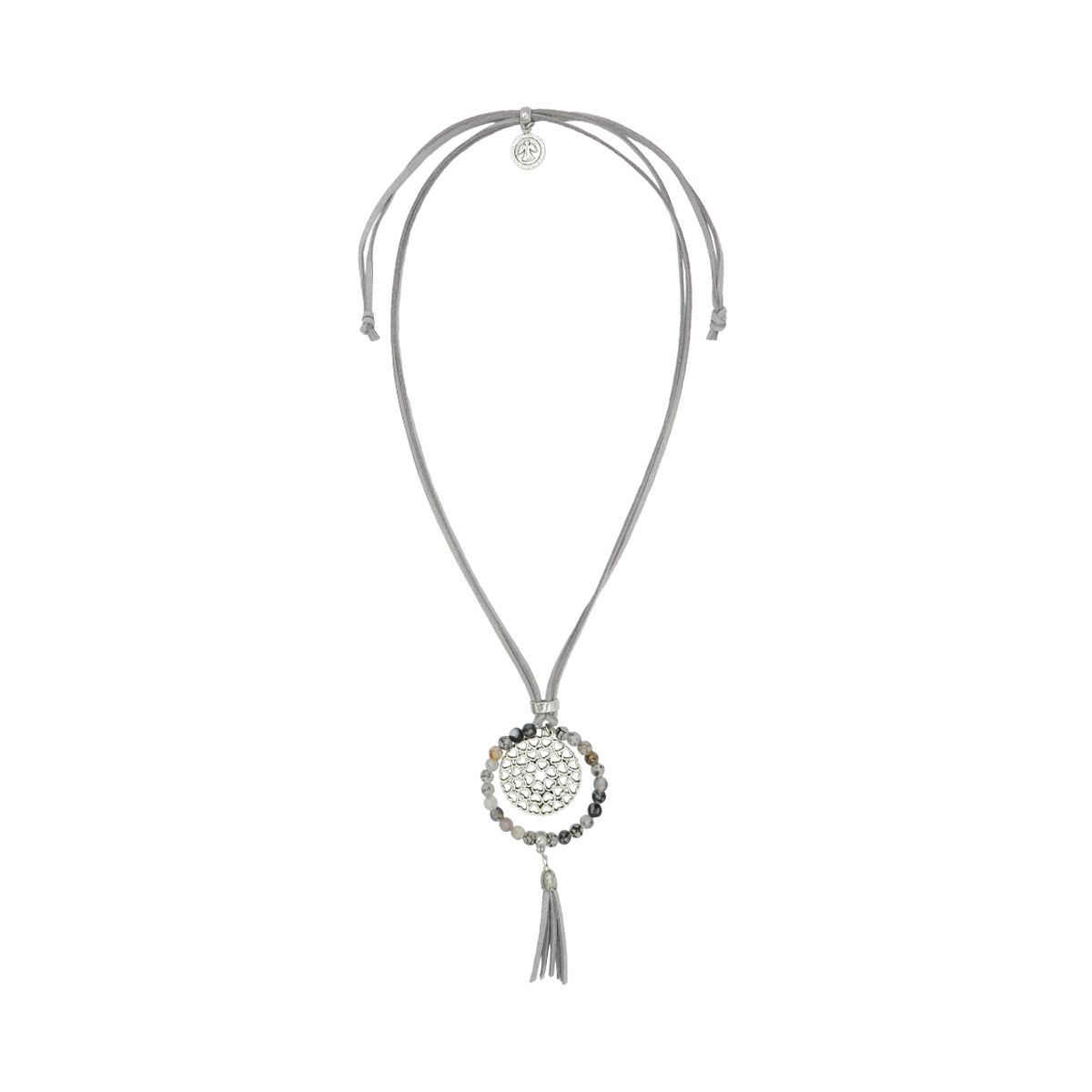Round Pendant with Tassel Suede Necklace 08230259