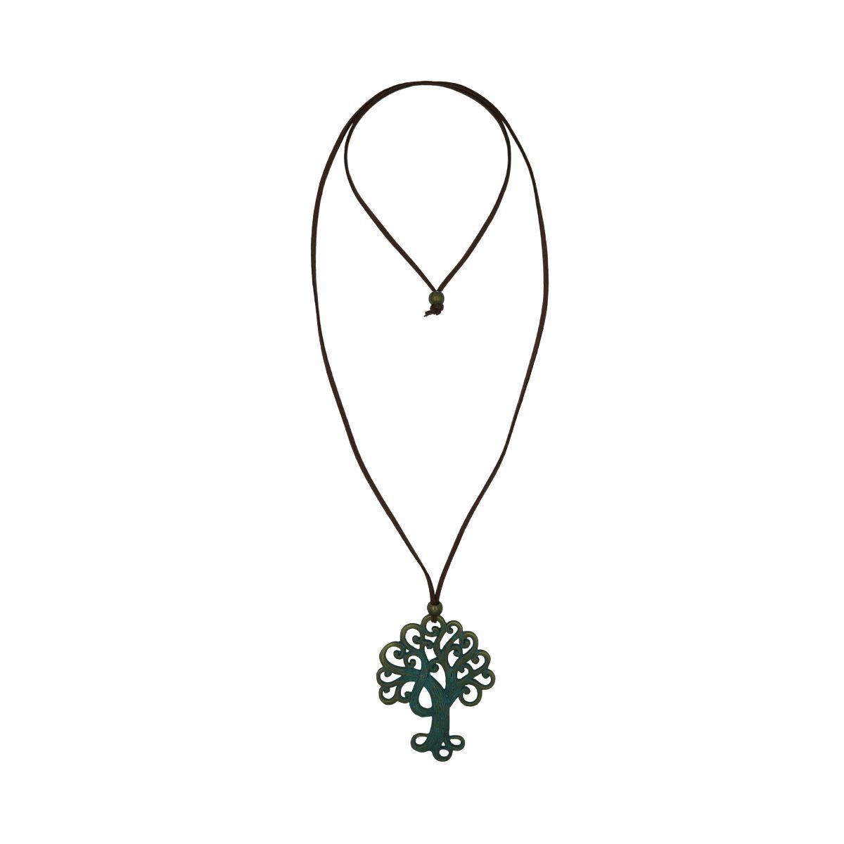 Tree Pendant Suede Necklace